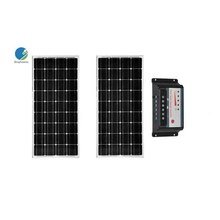 Solar Panel Kit 200W Solar Modules 100w 12V Polycrystalline PWM Solar Charge Controller 20A 12V/24V Regulator Camp Marine  20a solar controller pwm led solar charge regulator 12v 24v auto solar cells panel charger epsolar ls2024b common positive