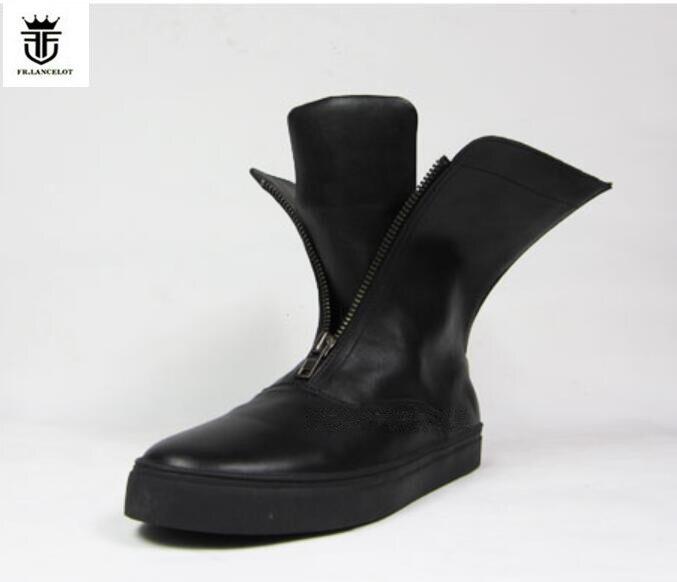 FR. LANCELOT 2018 nova qualidade de couro dos homens botas dos homens de estilo Britânico botas de inverno duplo zíper mujer bota chelsea booties