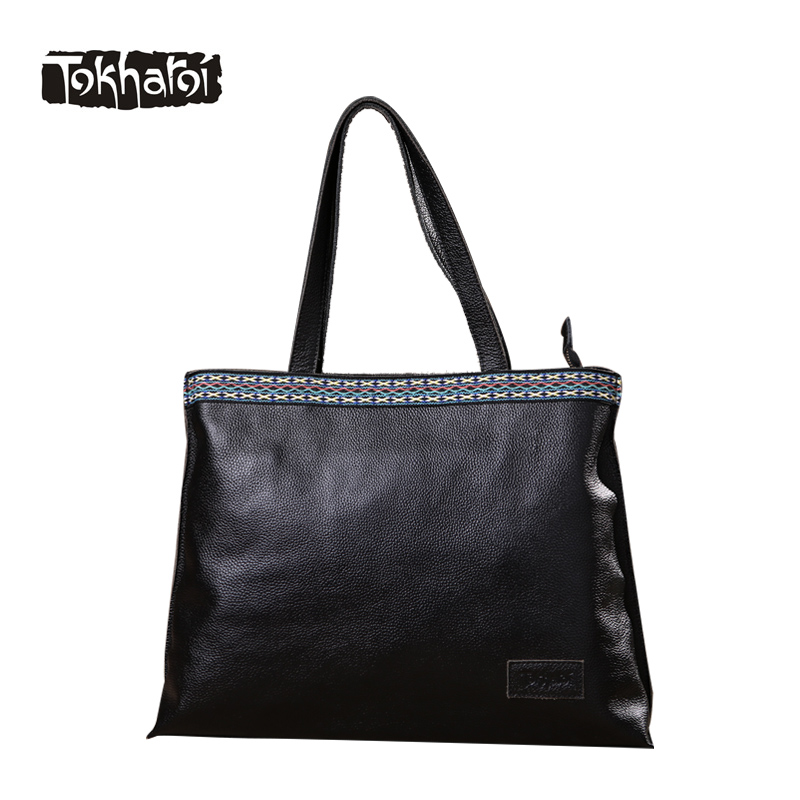 Tokharoi Brand Design Women Genuine Leather Bags Female Big Casual Tote Handbags