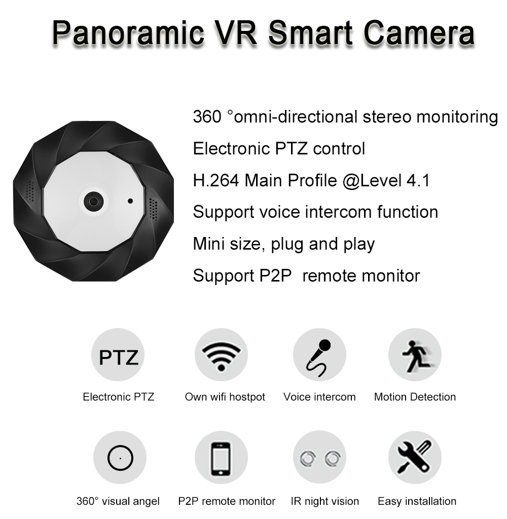 US $65 21 18% OFF|3MP Wireless camera 360 Degree Panoramic wifi Camera 960P  Network Wi fi Fisheye Security IP Camera-in Surveillance Cameras from