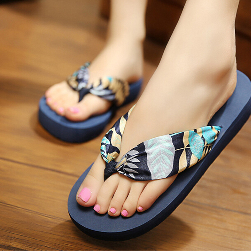 ee02048de 2017 new women shoes bohemian silk sandals and slippers slope with beach  flip flops chaussure femme s227-in Flip Flops from Shoes on Aliexpress.com  ...