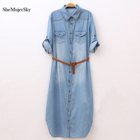 2017 Long Denim Dress Shirt Long Sleeve Women Dresses Casual Fashion Dress With Belt Women S