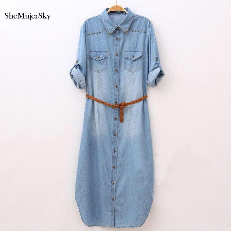 Robe longue jean femme