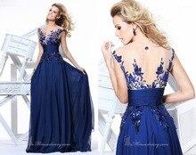 2017 hohe Qualität Charming Royal Blue Abendkleider Maß Appliqued Chiffon-A-Line Abendkleider vestido de festa