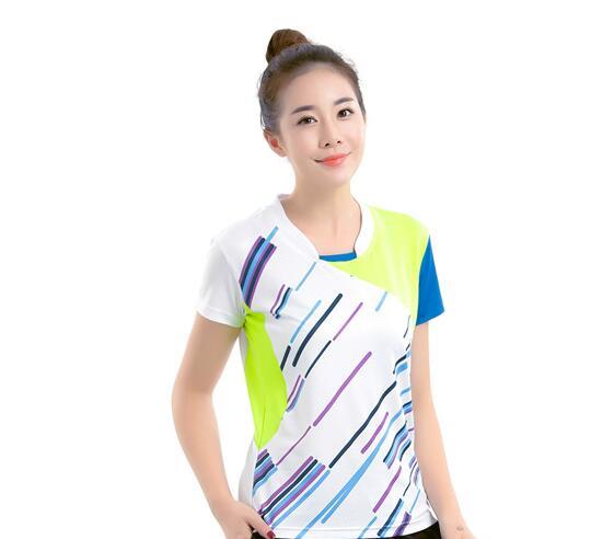 Новая мужская одежда для бадминтона, рубашка для игры, летняя женская спортивная футболка с коротким рукавом для настольного тенниса, быстросохнущая футболка для Бадминтон Спорт - Цвет: women white jersey