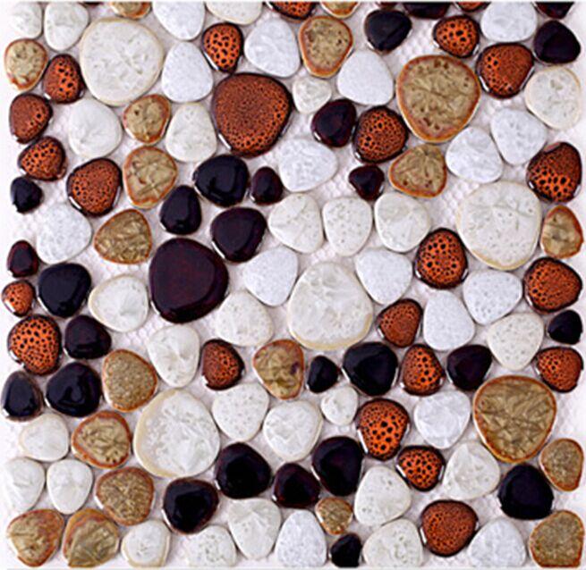 Porcelain Pebbles Fambe Glazed Ceramic Mosaic tiles,kitchen backsplash/bathroom floor/Fireplace Home wall decor wallpaper,LSYB16 home improvement marble stone mosaic tiles natural jade style kitchen backsplash art wall floor decor free shipping lsmb101