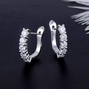 Image 3 - Transgems 14k 585 White Gold 1CTW 3MM F Color Moissanite Hoop Earrings for Women Gift U Shaped Huggie Moissanite Earrrings