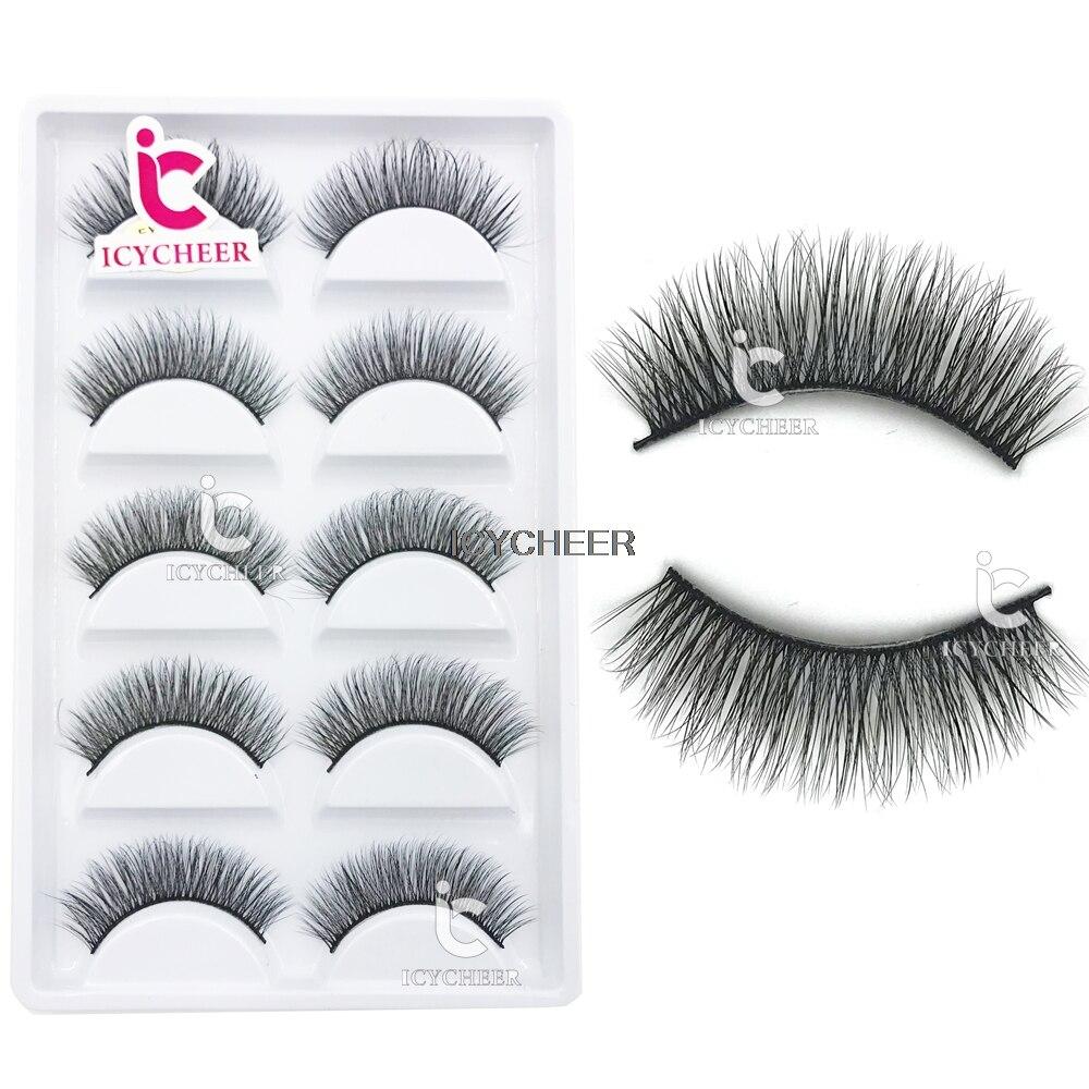 ICYCHEER Makeup 3D Mink Long Thick False Eyelashes 5 Pairs Fake Eye Lashes Natural Handmade Soft Hair Extension Cosmetic