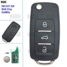 DWALKLEE Chave Remota 434 MHz para VW/VOLKSWAGEN 5K0837202 5K0 837 202 Besouro Caddy Golf Polo Jetta Tiguan Touran Chip ID48