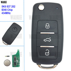 DWALKLEE Remote Key 434MHz for VW/VOLKSWAGEN 5K0837202 5K0 837 202 Beetle Caddy Golf Jetta Polo Tiguan Touran ID48 Chip