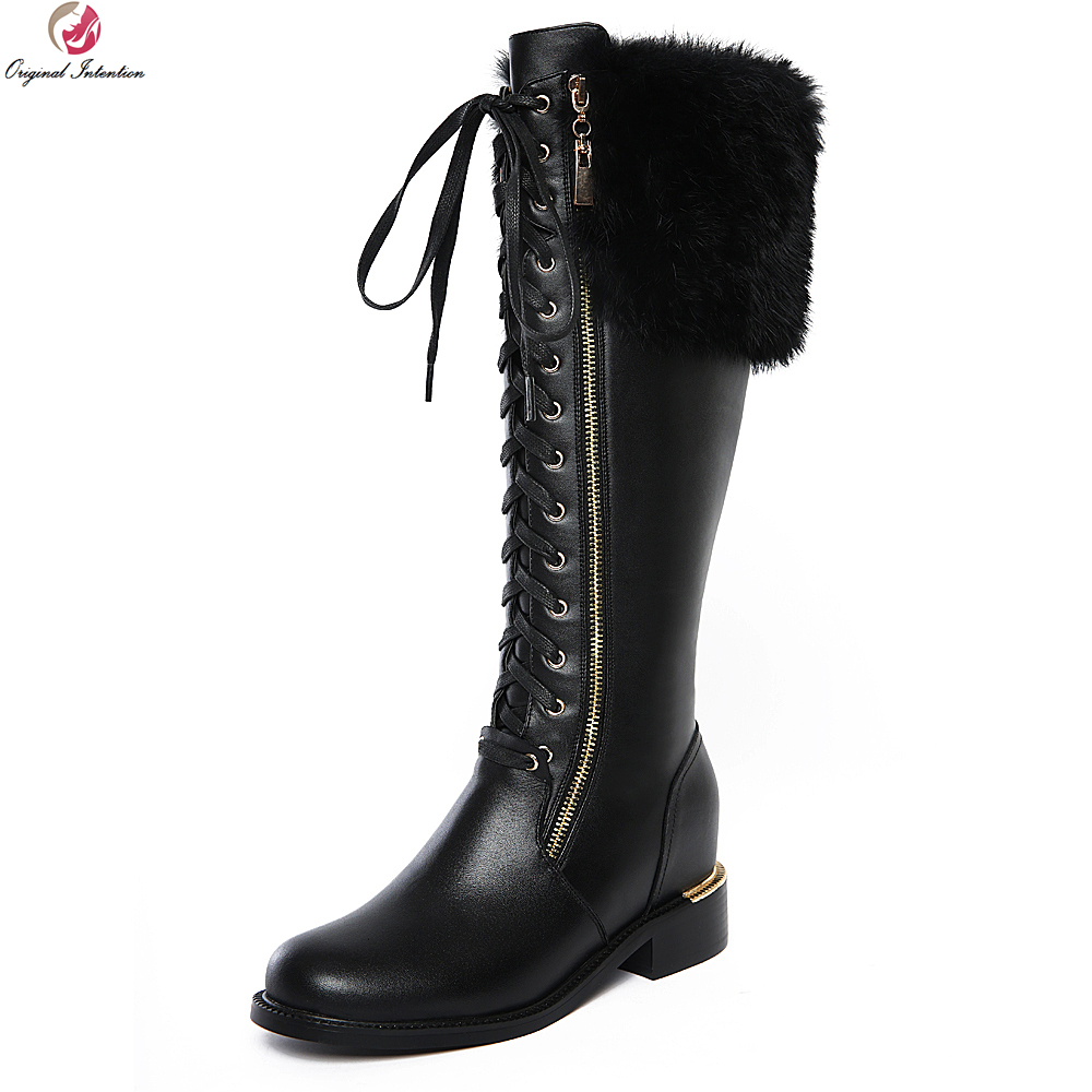 Original Intention Elegant Women Knee High Boots Cow Leather Feather Round Toe Square Heels Boots Black Shoes Woman US Size 4-10 купить