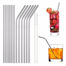 4Pcs Stainless Straws With Cleaner Brush Straight/ Bend Reusable Drinking Straw For Mug Cup Bar Accessories