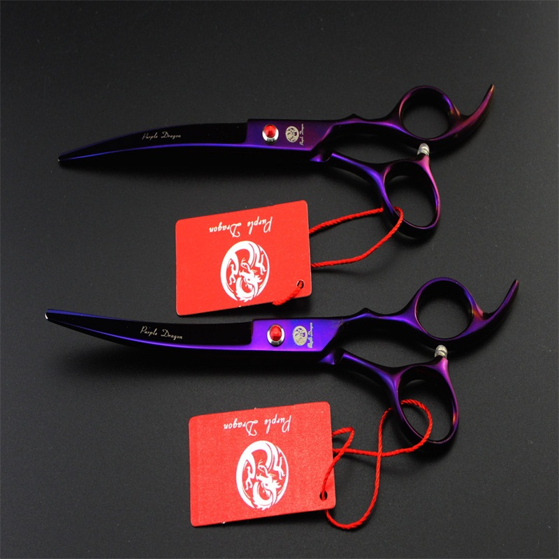 Purple dragon 7.0 inch Professional pet grooming scissors dogs shears hair cutter Straight & Curved & Thinning 3pcsset (6)