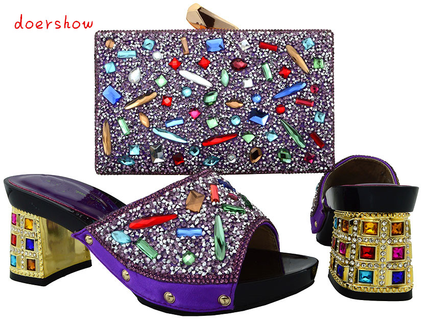 doershow Italian Flowers Rhinestone Shoes And Bag Set Nigerian Style Women High Heels Shoes And Bag To Match For Parties PUW1-16 doershow african shoes and bags fashion italian matching shoes and bag set nigerian high heels for wedding dress puw1 19