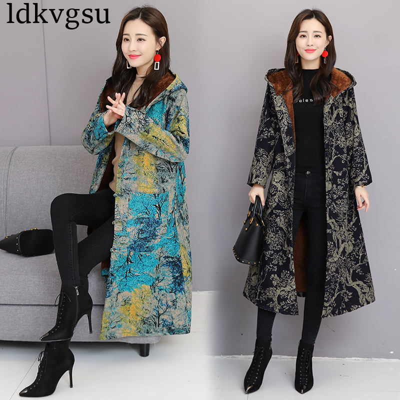 2018 New Winter Jackets Female Retro Buckle National Wind Long Plus Cotton Velvet Thickening Hooded   Parkas   Coat V144