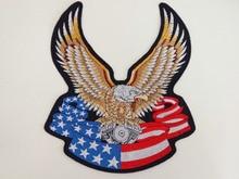 Huge US Flag Eagle Heavy Engine Machine Large Embroidery Patches Motorcycle Biker for Jacket Back MC 29cm * 33.5 cm