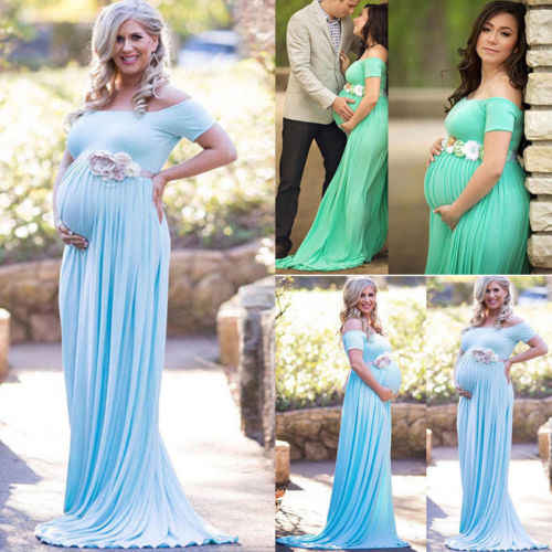 ad5541eee609a Lace Gown Maternity Maxi Dress 2018 New Summer Pregnant Flower Pleated  Wedding Party Dresses Photography Prop Clothes L XL
