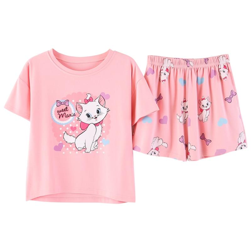 Summer Cotton Pullover Women Pajamas Cartoon Cat Sweet Night Wear Suits Female Pullover Loose Pijima Shorts Sleepwear Pyjamas