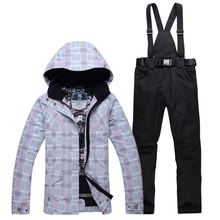 Cheap ski suit set women Snowboarding clothing Outdoor sports Costumes Waterproof Warm jacket + bibs pant female snow costumes