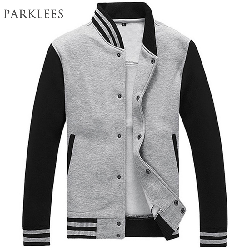 Baseball Jacket Men Veste Homme Brand Slim Fit College Varsity Jacket Mens Casual Sweatshirt Sportswear Bomber Jackets Gray XXXL