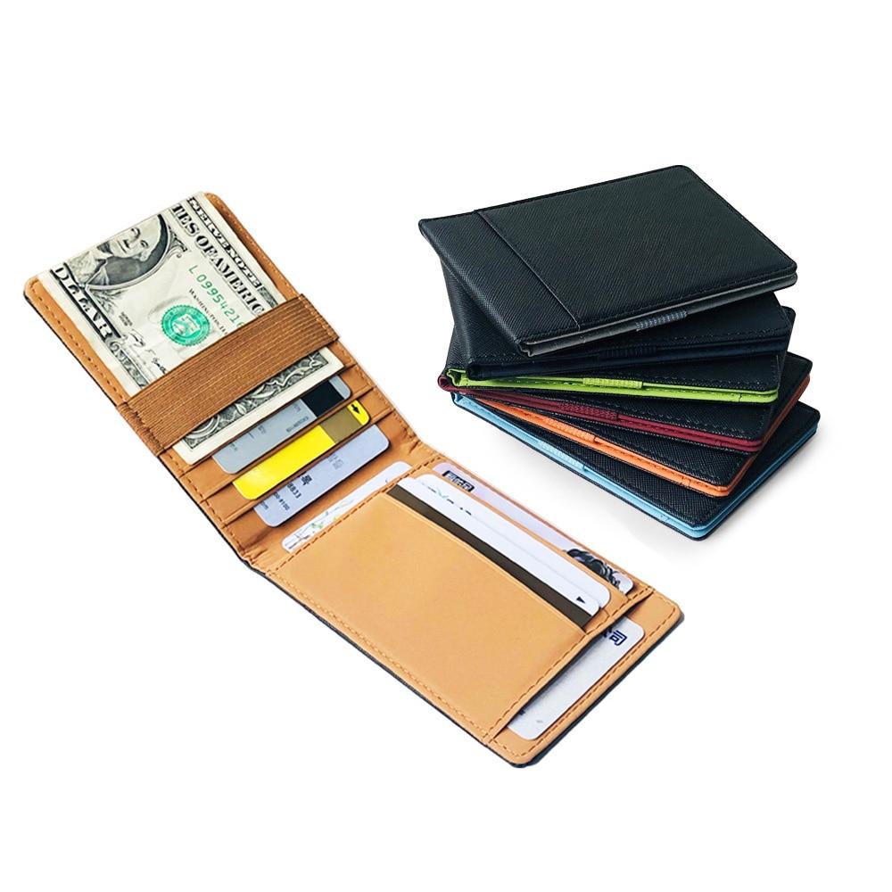 New Fashion Women Mini Wallet Elastic Ribbon Woman Money Clip Men Small Credit Card Purse Slim Cash Holder For Man 8 Colors