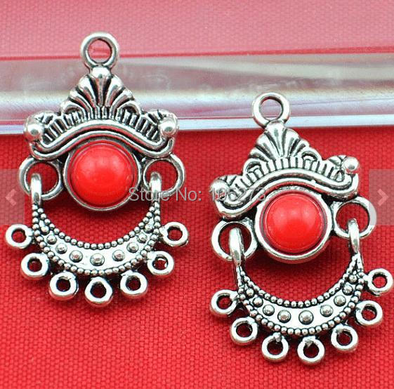 New arriver 4pcs red antique silver boho tribal chandelier earring new arriver 4pcs red antique silver boho tribal chandelier earring findings 18x28mm diy accessory jewelry aloadofball Images