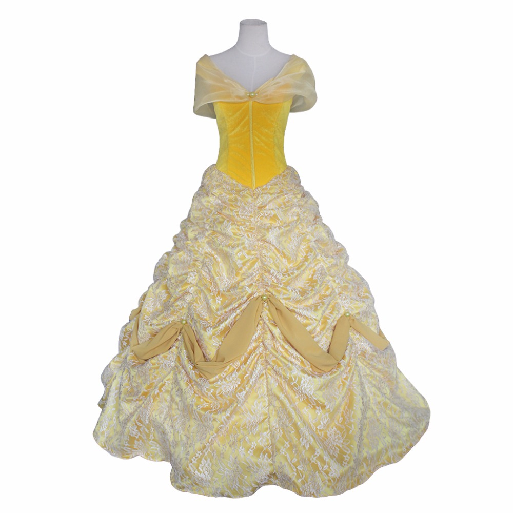 Beauty and the Beast Princess Belle Yellow Lolita Dress Costume Cosplay for Halloween Carnival Party