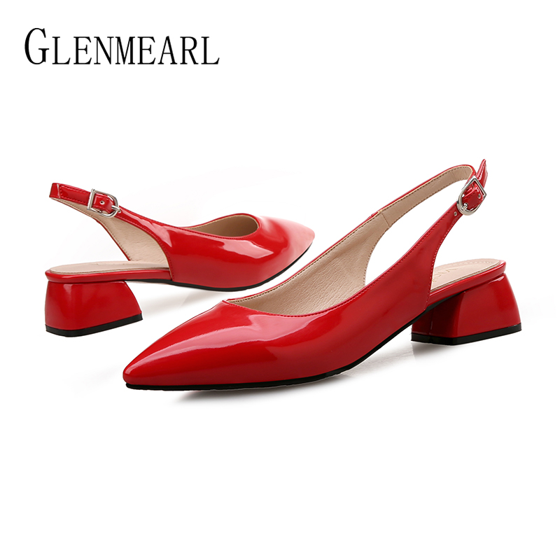 Women Pumps High Heels Shoes Female Fashion Patent leather Thick Heel Ladies Shoe Buckle Strap Pointed Toe Wedding Shoes Heels in Women 39 s Pumps from Shoes