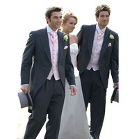 Custom Made Charcoal Grey Tailcoat Formal Occasion Groom Wear Wedding Suit Jacket Pant Tie Vest