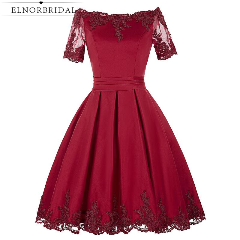 Elnorbridal Real Photo Vestido Curto De Festa Luxo Knee Length Cocktail Dresses 2017 Burgundy Party Prom Dress Pageant Gowns