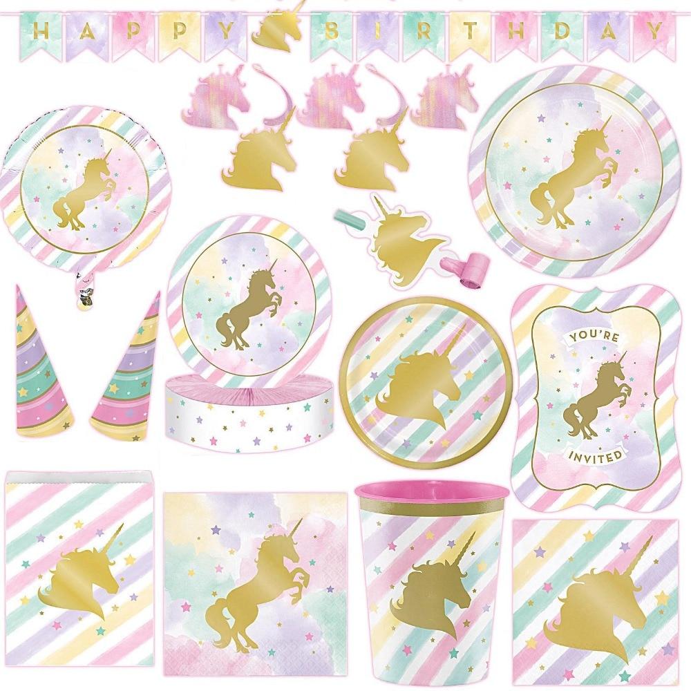 1set Gold Unicorn Party Decor Wedding Birthday Unicorn Theme Paper Cup Napkins Plate Table Cloth Kids Happy Birthday Gifts