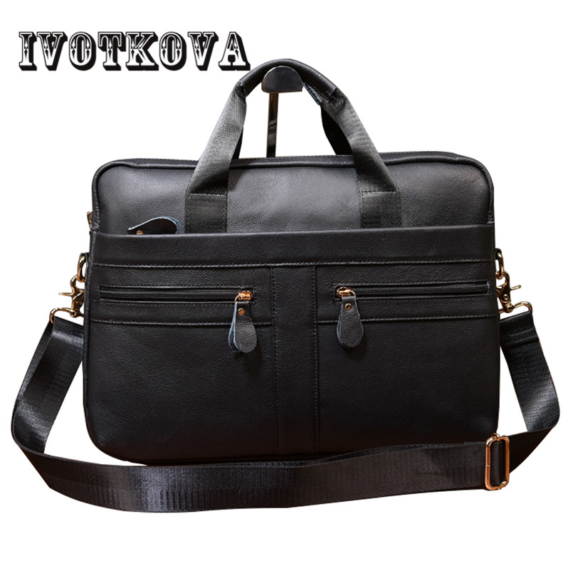 IVOTKOVA Genuine Leather Men Briefcase Brand High Quality Men's Business Handbags Real Leather Soft Men Laptop Bag drop shipping new high quality 100% genuine leather men handbags brand fashion men s business briefcase bag big capacity men laptop bag 310 l