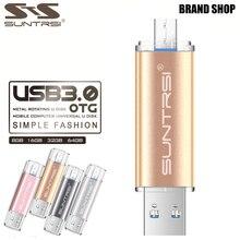 Suntrsi флешки 64 ГБ Металл высокого Скорость USB Flash Drive реальная Ёмкость OTG накопитель usb stick 32 ГБ USB Flash USB 3.0