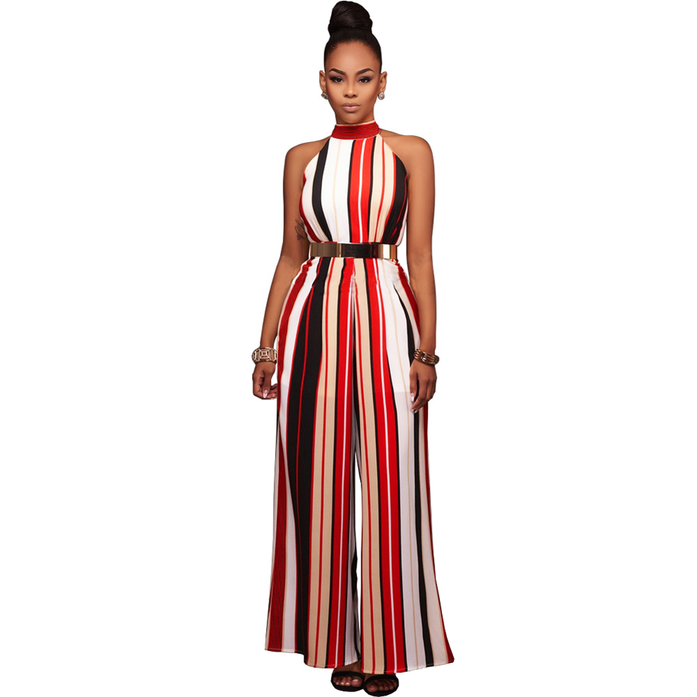 Buy Sexy Women Striped Wide Leg Jumpsuit Halter Neck Sleeveless High Waist Romper Elegant Ladies Bodysuit Female Overalls Yellow/Red