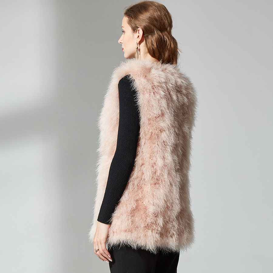 En Naturelle De Réel Veste Dame Pink D'extérieur Femmes Gilet Fourure Top Pour Vêtements Fourrure Plume D'autruche Fluffy Qualité wX8Nn0POk