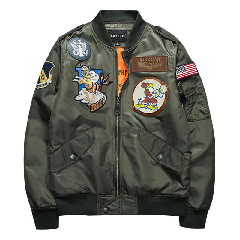 New Ma1 Army Green Military Ma 1 Flight Jacket Pilot Air Force Men Bomber Jacket Stand Collar Printed Male Fashion SMC0411 5