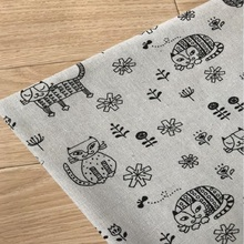 Childish Style Cute Cat Printing Cotton Linen Canvas Flax Fabric Handmade DIY Sewing Quilting Material Cloth For Child