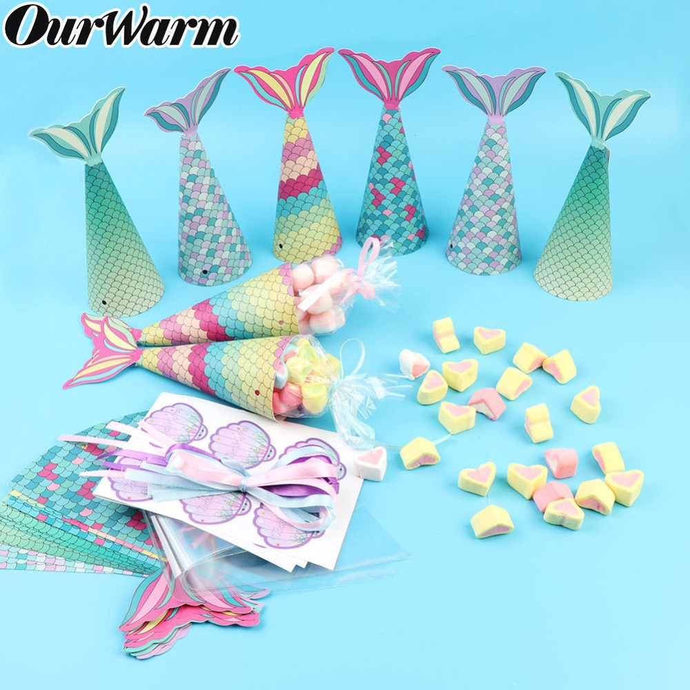 OurWarm 12pcs Colorful Mermaid Gift Bags Mermaid Party Supplies Kids Birthday Gifts Mermaid Favor Bag Candy Boxes Baby Shower