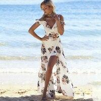 Iur Kwiatowy Print Halter Szyfonu Ruffles Backless Lato Długa Sukienka Kobiety 2017 Moda Sexy Biały Podziel Plaża Maxi Dress Vestidos