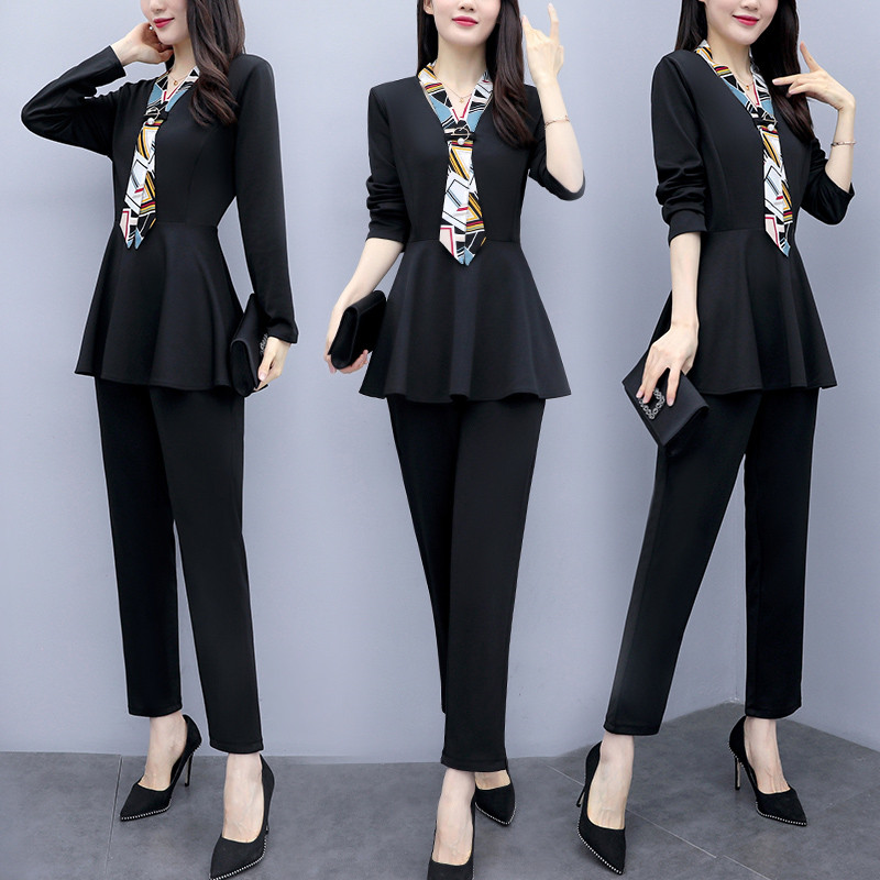 L-5xl Black Autumn Two Piece Sets Outfits Women Plus Size Long Sleeve Tunics Tops And Pants Suits Elegant Office Ol Style Sets 25