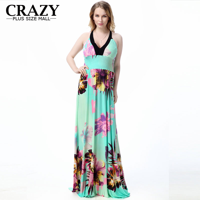 3822edf80f4 Maxi Dress 2018 New Fashion XL-7XL Sexy V-neck Resort Beach Dress Plus Size  7XL 6XL 5XL 4XL 3XL XXL Summer Bohemia Dresses