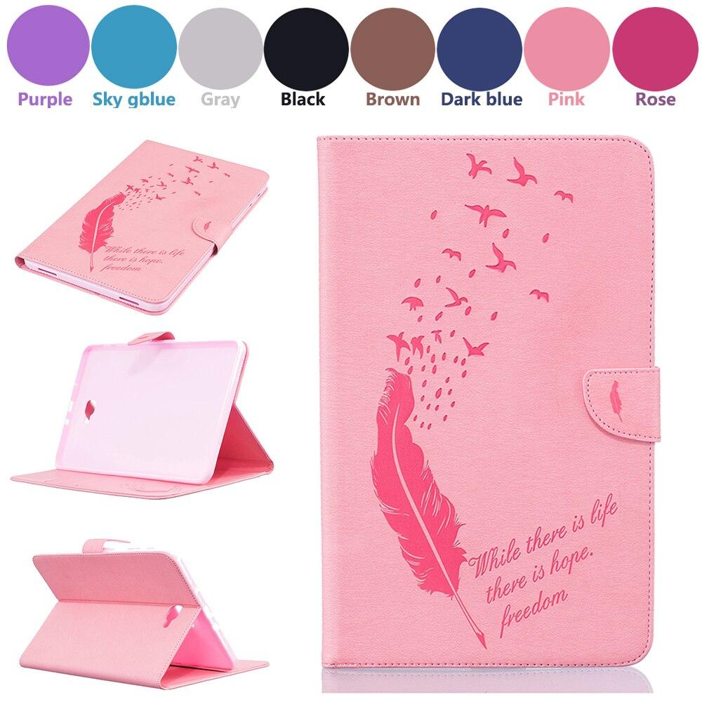Fashion Feather Tablet case Folding Flip PU Cover for Samsung Galaxy Tab A 10.1 2016 T580 T585 T580N T585N Skin Case
