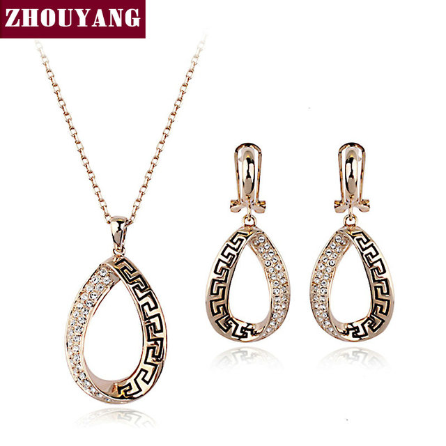 ZHOUYANG ZYS357 Classic Retro Pattern  Rose Gold Plated Jewelry Necklace Earring Set Rhinestone Made with Austrian  Crystals