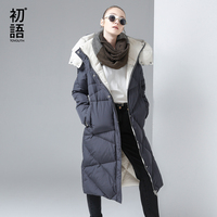 Toyouth Women Coat Winter Medium Long Hoody Single Breasted Snap Button Thickening Long Jacket Coat