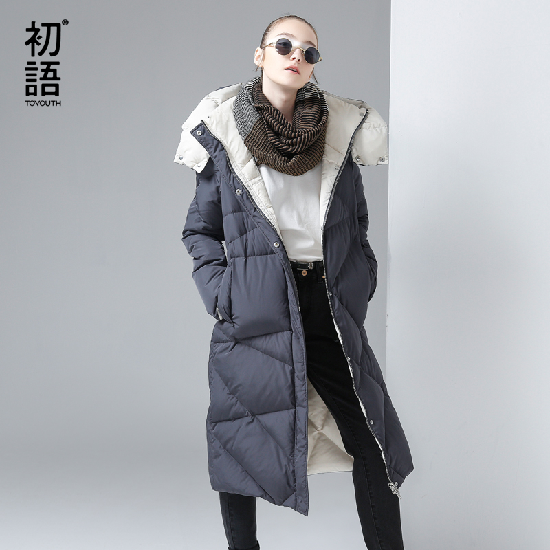 Toyouth Winter Women Cotton Padded Long Jacket Gray Hooded Down Jackets Female Luxury Outerwear Argyle Parkas Overknee Warm Coat winter jacket female parkas hooded fur collar long down cotton jacket thicken warm cotton padded women coat plus size 3xl k450