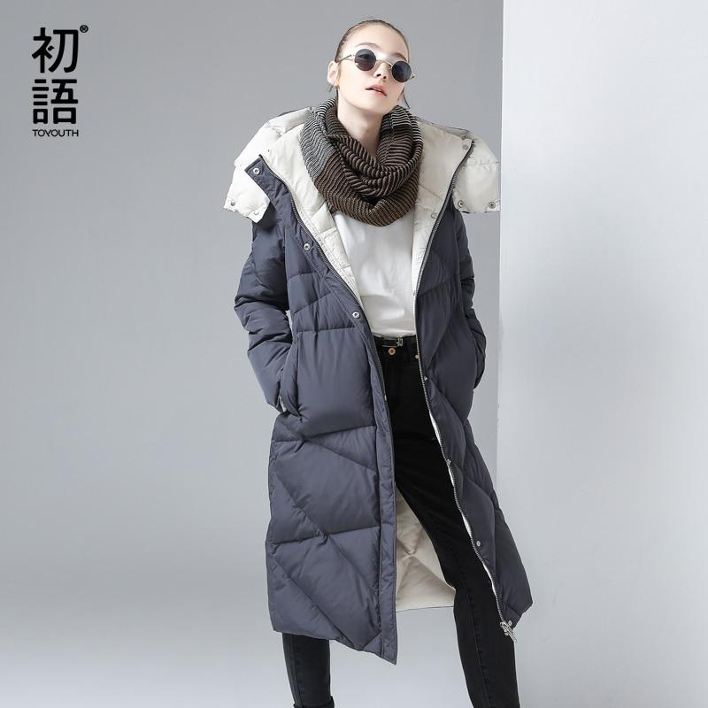 Toyouth Winter Women Cotton Padded Long Jacket Gray Hooded Down Jackets Female Luxury Outerwear Argyle Parkas Overknee Warm Coat