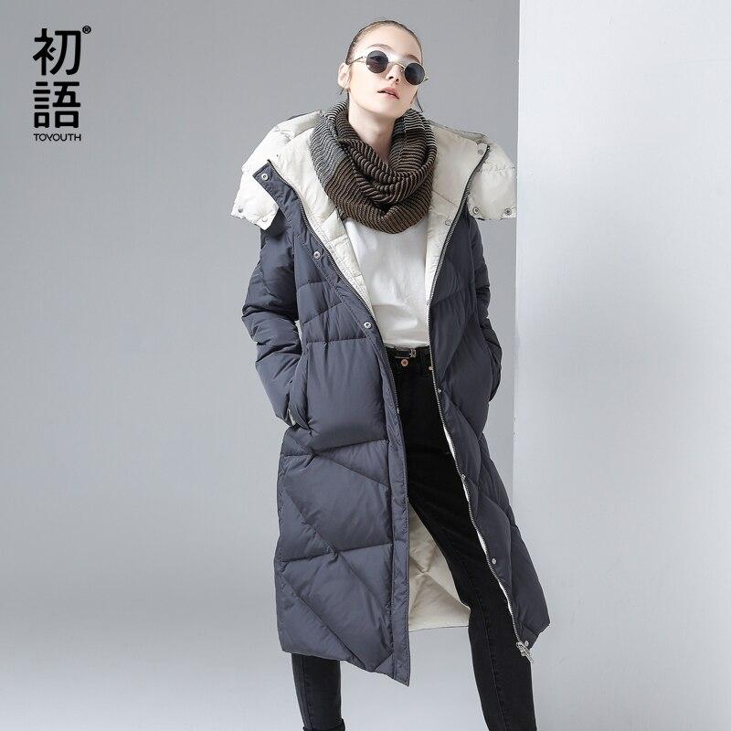 Toyouth 겨울 여성 다운 재킷 코트 여성 여성 롱 코트 따뜻한 파카 두꺼운 여성 후드 오리 파카 워밍업 파카-에서파카부터 여성 의류 의  그룹 1