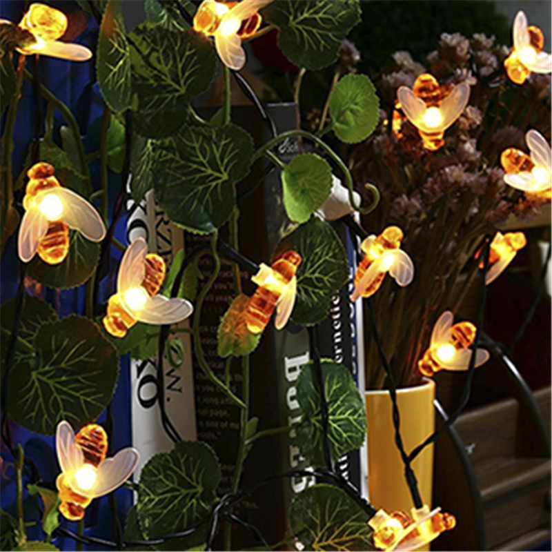 New Solar Powered Cute Honey Bee Led String Fairy Light 20leds 50leds Bee Outdoor Garden Fence Patio Christmas Garland Lights 4