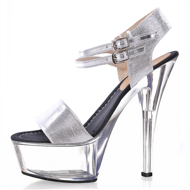 Silver sexy crystal 15 cm high, fashion sandals, plus 6 inches of hand made high heels, sexy crystal shoes