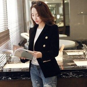 Image 5 - Fashion New Brand Spring Women Slim Velvet Blazer Jacket Double Breasted Simple Lady Blazers High Grade OL Clothing